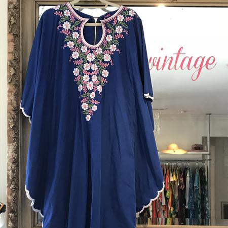 Royal Blue Embroidered Caftan Maxi SOLD