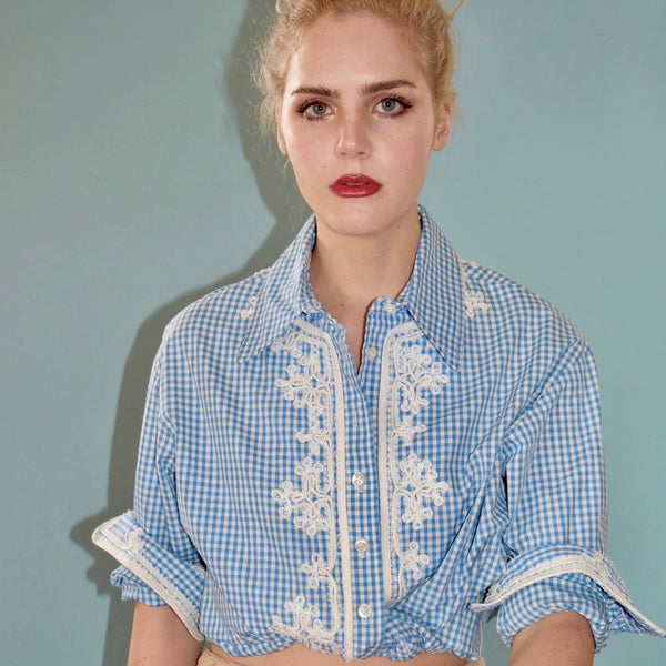 Checkered Blouse with Lace Detail