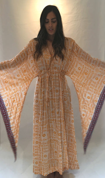 Vintage Yellow Print Cotton Maxi Caftan