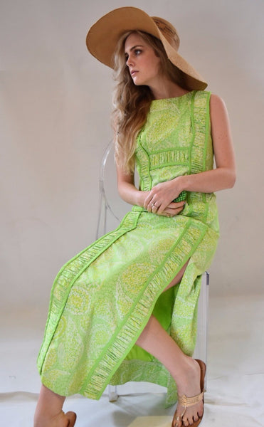 Vintage Lilly Pulitzer Lime Green Paisley Ruched Maxi Dress