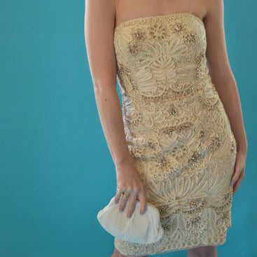 Vintage Sue Wong Ribbon Strapless Party Dress