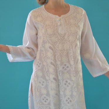 Vintage White Embroidered Tunic