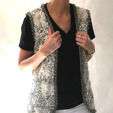 Vintage Valentina Silver & White Sequin Beaded Vest SOLD
