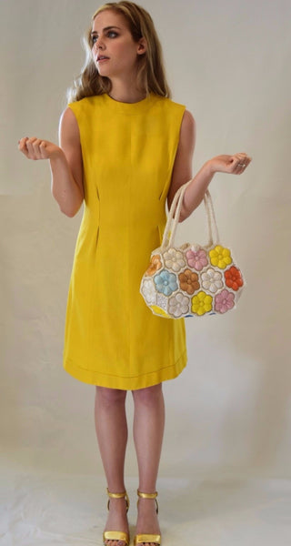 Vintage Sakowitz Yellow Shift Dress