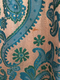 Vintage Turquoise Metallic Brocade Maxi Dress