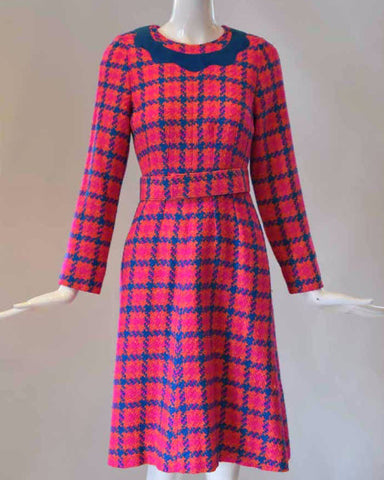 1960s Neon Plaid Shift Dress