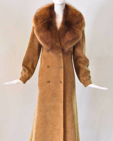Esther Wolf Ultra Suede Coat with Fur Collar