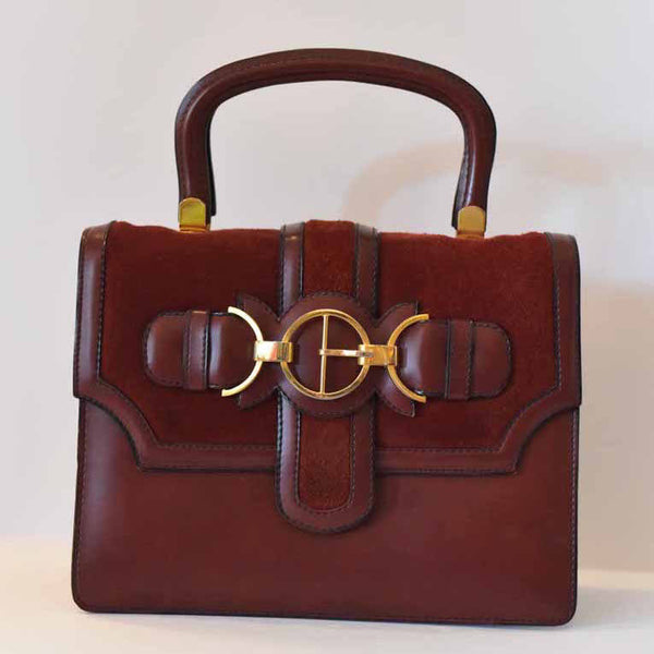 Burgundy Double Handle Satchel