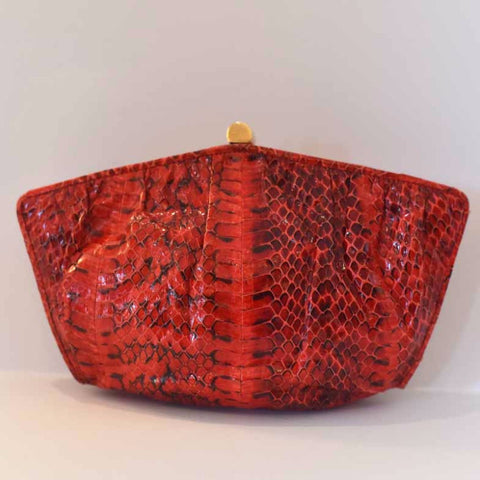 Red Snake Skin Leather Clutch with Strap