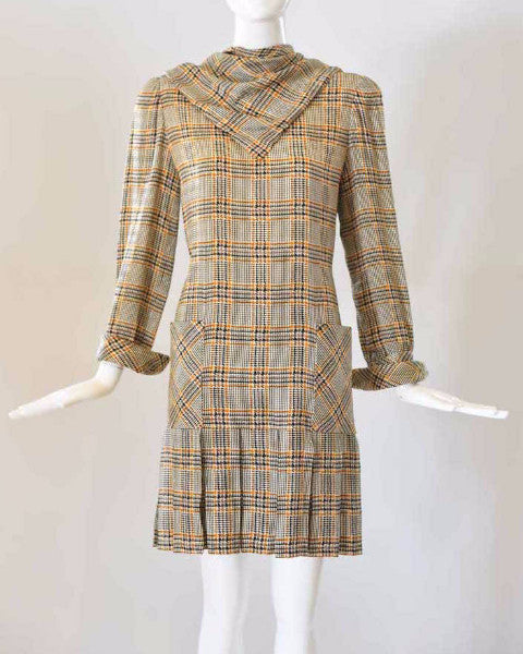 1960s Hounds Tooth Bill Blass Shift Dress