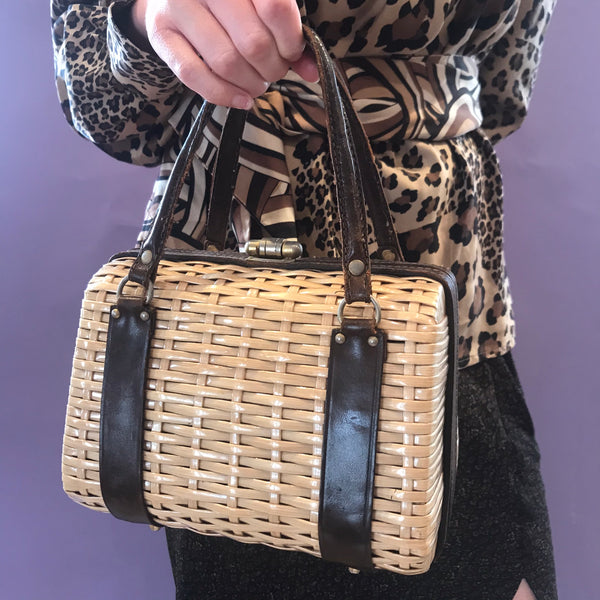 Leather Detail Straw Handbag