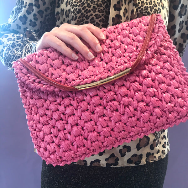 Pink Clutch Purse With Shoulder Strap