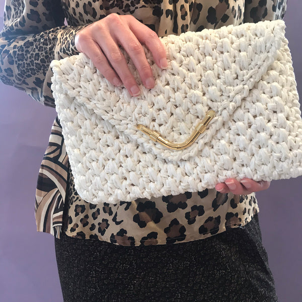 White Clutch Purse with Shoulder Strap