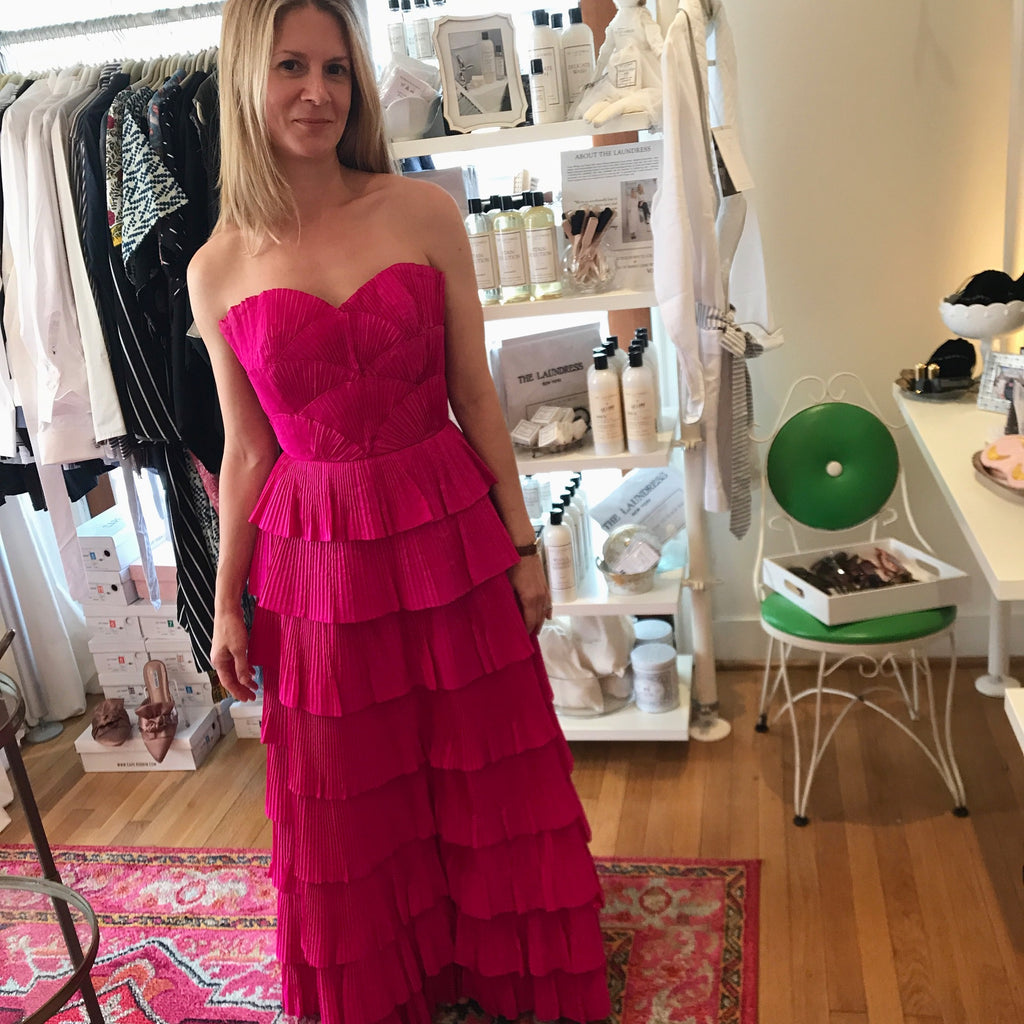 Shocking Pink Silk Pleated Gown