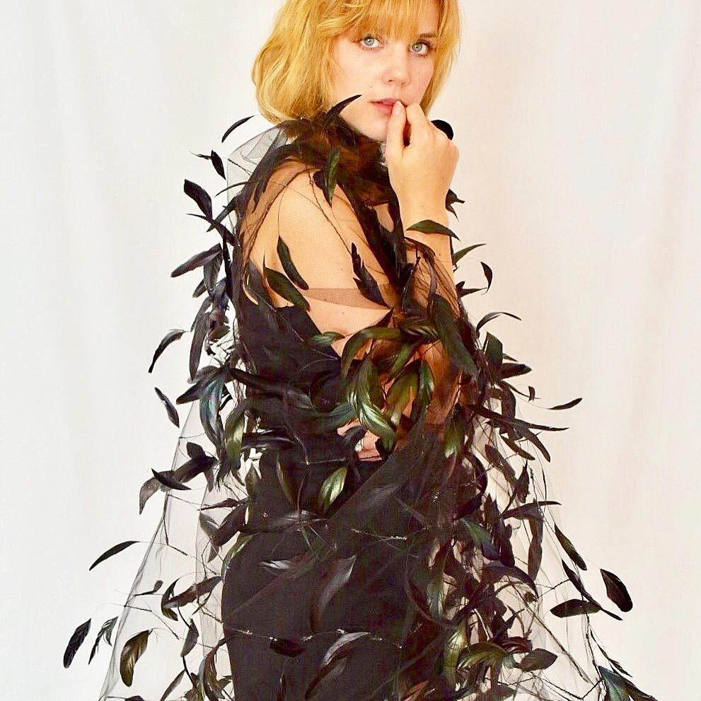 Amazing Couture Tulle Feather Wrap