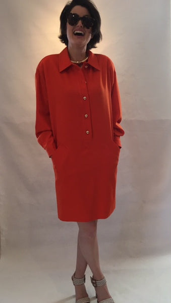 Vintage Orange Structured Tunic Dress