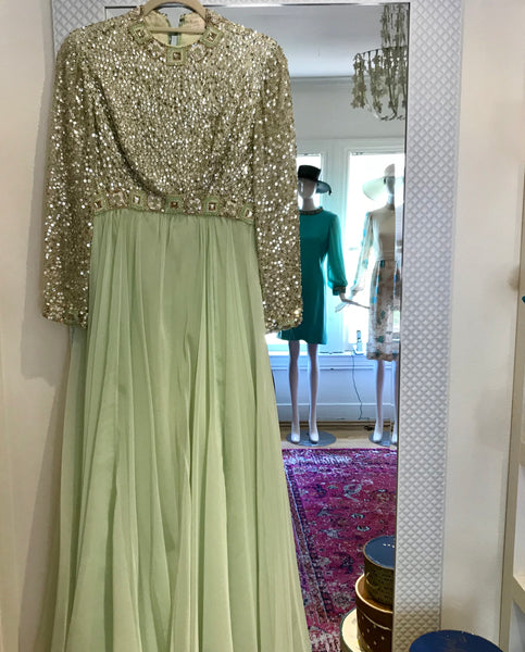 Mint Green Chiffon Beaded Gown 60