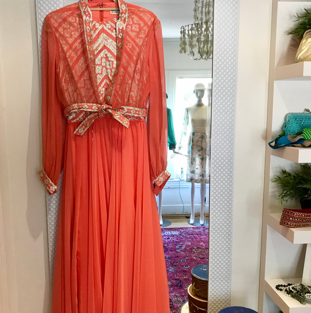 Coral Chiffon and Brocade Gown/Jacket