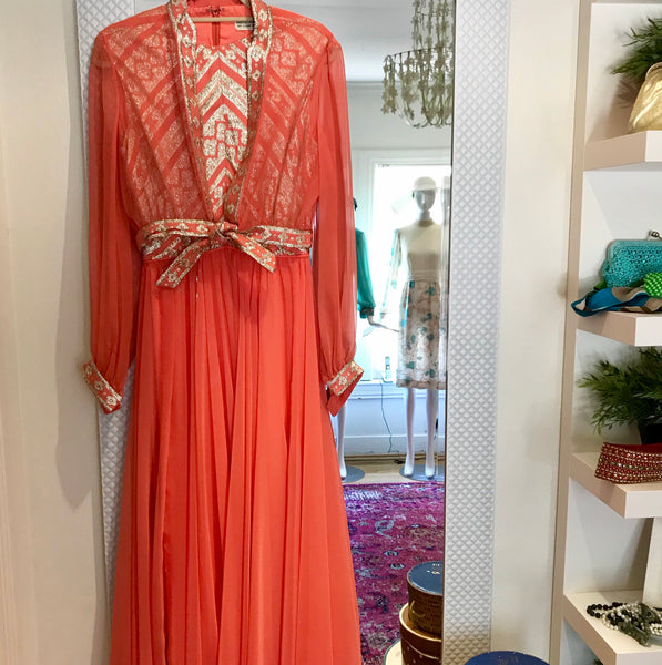 Coral Chiffon and Brocade Gown/Jacket SOLD