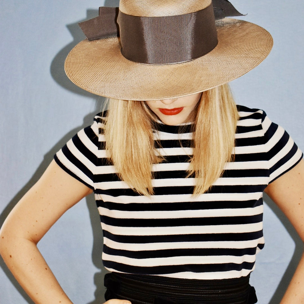 Gray Straw Boater Hat