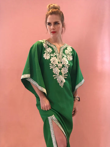 Spring Green Embroidered Maxi