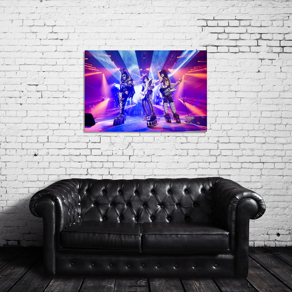 KISS Live Color Photo (Gene, Paul, Tommy) Canvas Wrap