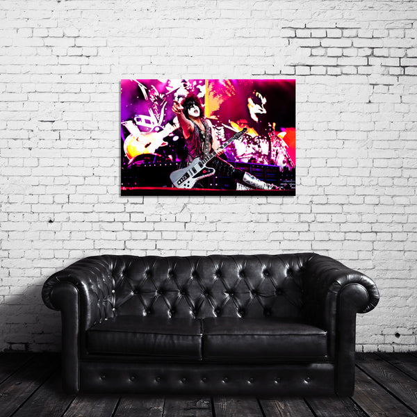 KISS Live Photo - Paul Stanley Pointing - Canvas Wrap