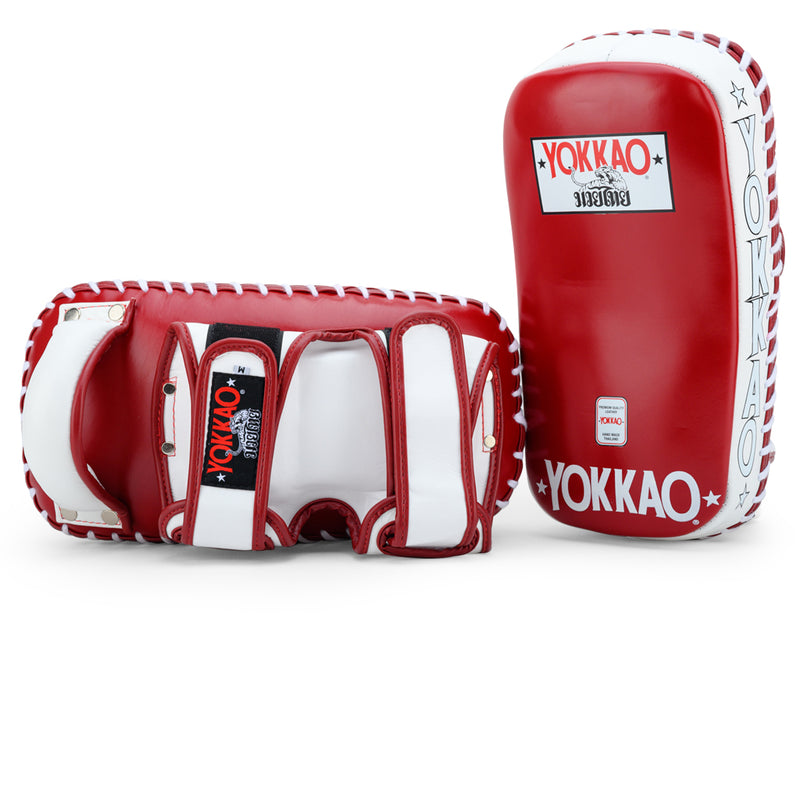 Curved Kicking Pads Biking Red/White - YOKKAO