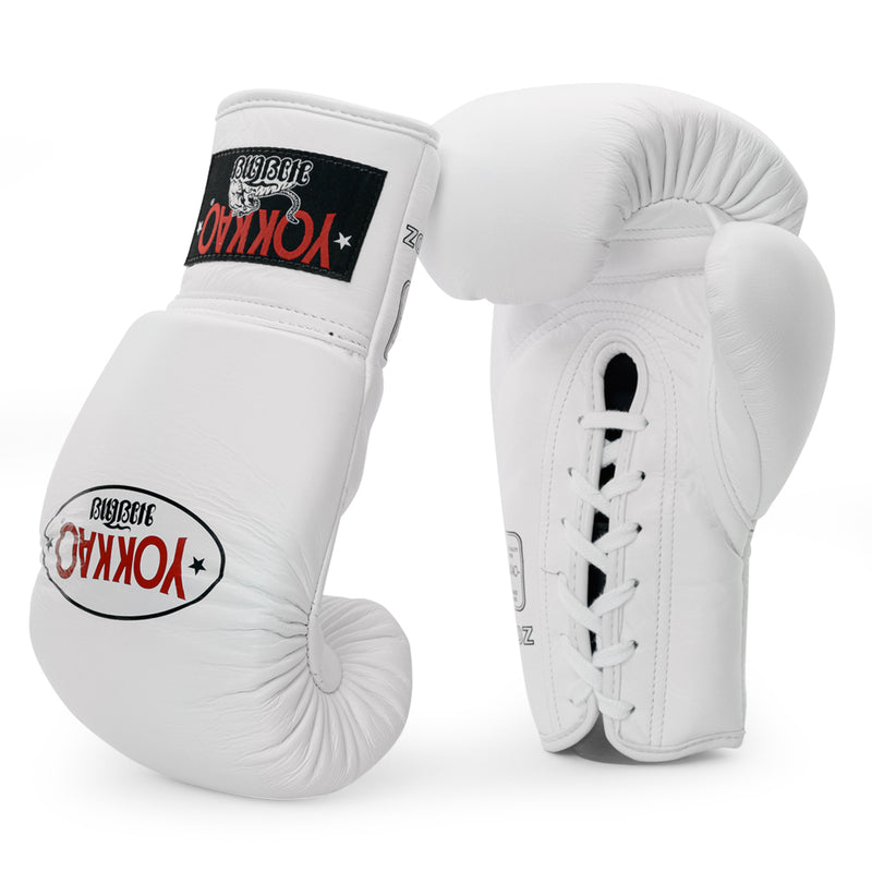 Matrix White Lace Up Boxing Gloves - YOKKAO
