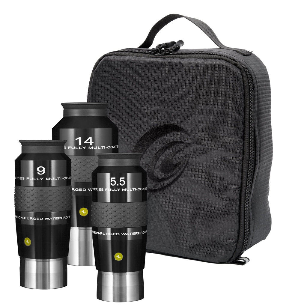 Explore Scientific 5.5mm, 9mm and 14mm 100 Degree Waterproof Eyepieces with Soft Case - EPWP100KIT