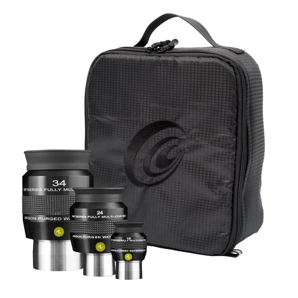 Explore Scientific 16mm, 24mm and 34mm 68 Degree Waterproof Eyepieces with Soft Case - EPWP68KIT