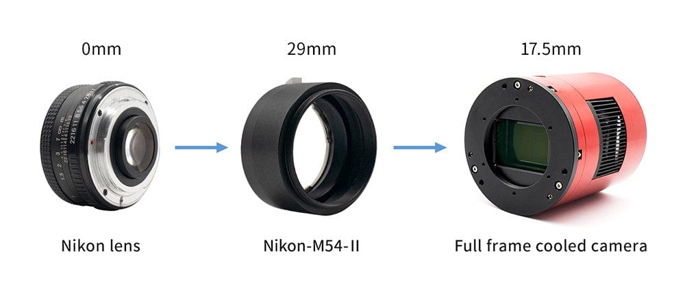 ZWO New Nikon-T2 Adapter Suitable for M54 ASI Cameras - ZWO-NIKON-M54-II