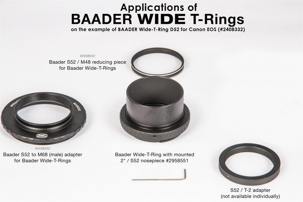 Baader Wide T-Ring Canon R (for Canon R bayonet) with D52i to T-2 and S52 - 2408336