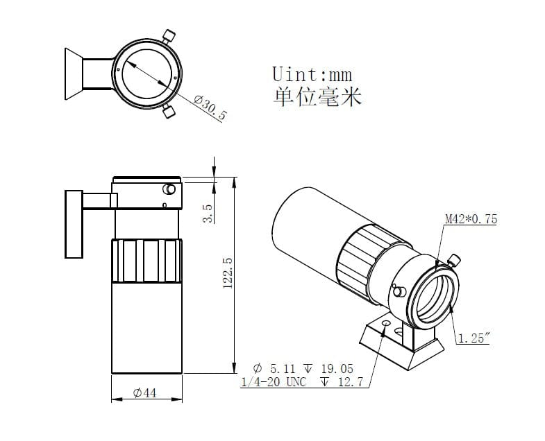 ZWO 30F4 Mini Guide Scope - ZWO-30F4