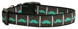 Aqua Moustaches Nylon Dog Collar