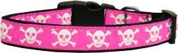 Pink Skulls Nylon Dog Collar