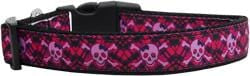 Hot Pink Plaid Skulls Nylon Dog Collar