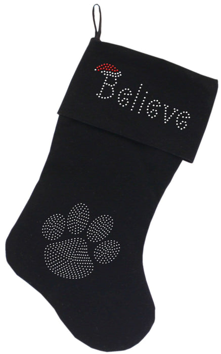 "Believe Rhinestone 18"" Velvet Christmas Stockings"