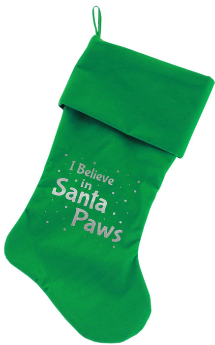 "I Believe in Santa Paws Rhinestone 18"" Velvet Christmas Stocking"