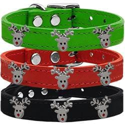 Reindeer Widget Leather Collars
