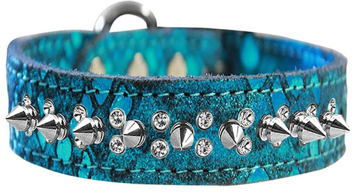 Double Crystal and Spike Dragon Skin Genuine Leather Collars