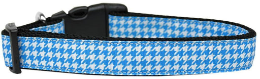 Blue Houndstooth Nylon Cat Collar