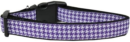 Purple Houndstooth Nylon Dog Collar