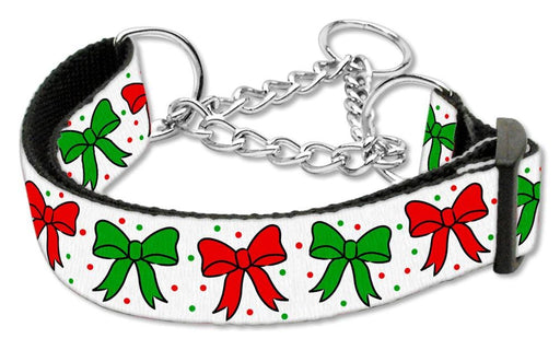 Christmas Bows Nylon Martingale Collars