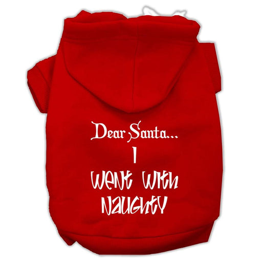 Dear Santa I Went With Naughty Screen Print Dog Hoodie