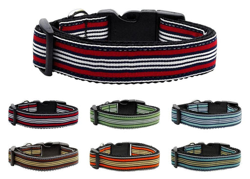 Preppy Stripes Nylon Dog Collars