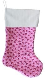 "Light Pink Skulls 18"" Velvet Christmas Stocking"