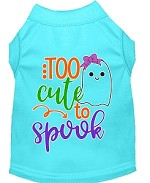 Too Cute To Spook Girly Ghost Screen Print Dog Shirt