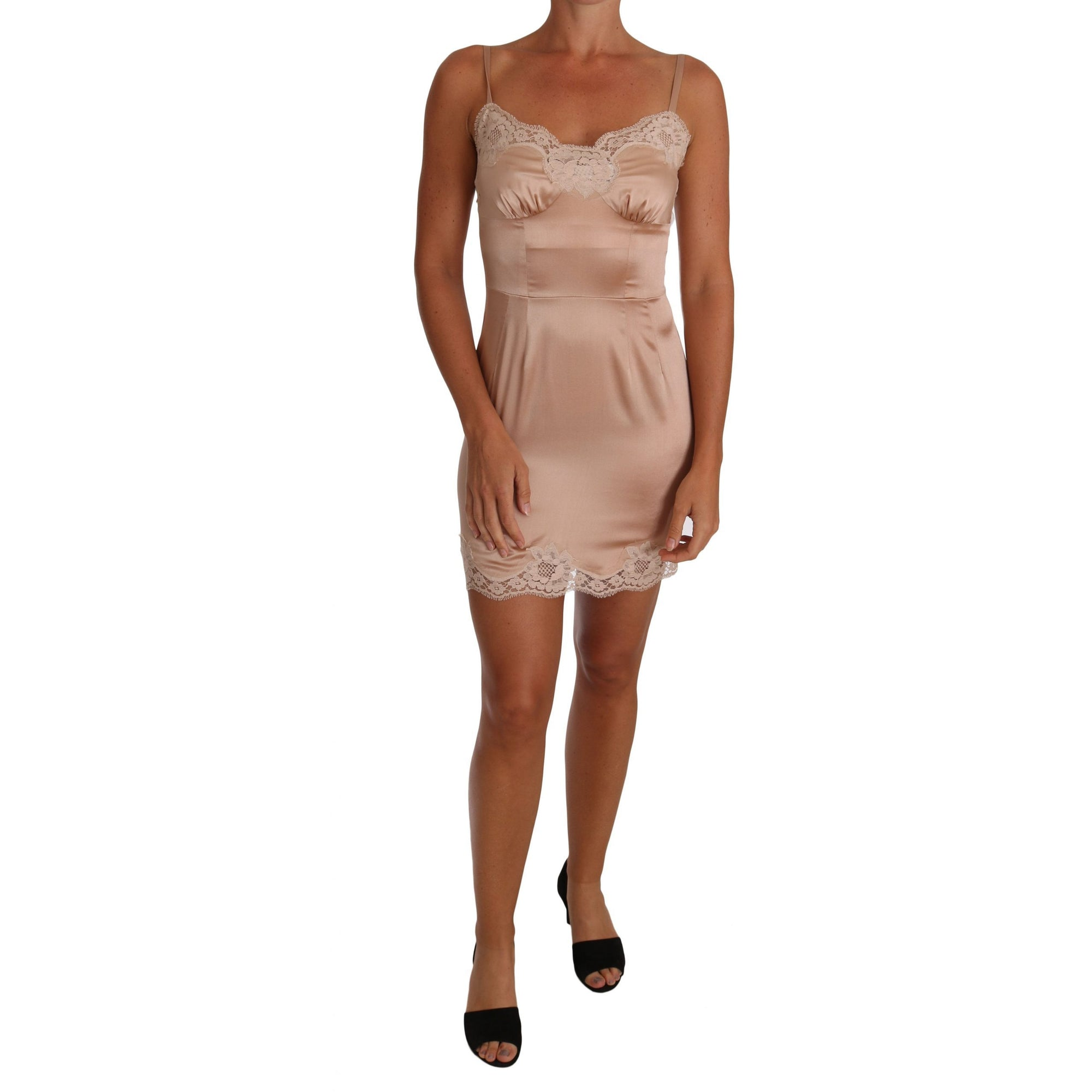 Beige Silk Lace Lingerie Chemise Dress