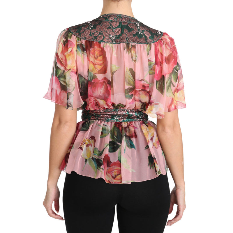 Floral Print Silk Shirt With Pussy Bow Rose